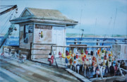 Fishing Shack Paintings - Railed Lobster Buoys by P Anthony Visco