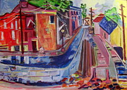 Mental Painting Originals - Railroad and Canal 1840 by Betty Pieper
