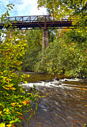 Colors Of Autumn Posters - Railroad Bridge 7827 Poster by Michael Peychich