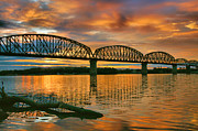 Indiana Acrylic Prints - Railroad Bridge At Sunrise Acrylic Print by Steven Ainsworth