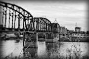 Red River Photo Framed Prints - Railroad Bridge Framed Print by Scott Pellegrin