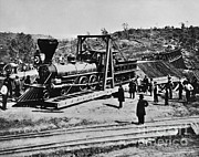 Train Tracks Framed Prints - Railroad Construction, Topeka 1870 Framed Print by Omikron