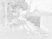 Railroad Crossing In Pencil Sketch Look On The Way From Mycenae To Olympia In Greece Print by John A Shiron