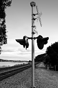 Railroad Crossing Photo Framed Prints - Railroad Crossing Light . Black and White Framed Print by Wingsdomain Art and Photography