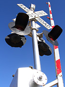 Railroad Crossing Photo Framed Prints - Railroad Crossing Sign and Gate . 7D10645 Framed Print by Wingsdomain Art and Photography