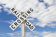 Railroad Crossing Photo Framed Prints - Railroad Crossing Sign Framed Print by Bryan Mullennix