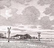 Railroad Drawings - Railroad Crossing Sketch by Kevin Lawrence Leveque