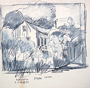 Old Shed Drawings - Railroad House by Bill Joseph  Markowski
