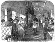 Waiter Framed Prints - Railroad: Interior, 1869 Framed Print by Granger