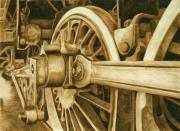 Watercolor  Pyrography - Railroad No.1 by Cate McCauley