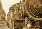 Watercolor  Pyrography - Railroad No.2 by Cate McCauley