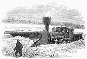 1870 Posters - Railroad Snow Plough, 1870 Poster by Granger