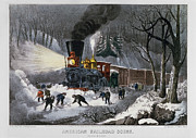 Lithograph Framed Prints - Railroad Snow Scene, 1872 Framed Print by Granger