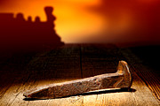 Weathered Metal Prints - Railroad Spike Metal Print by Olivier Le Queinec