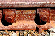 Railroad Ties Prints - Railroad Track Nuts Bolts Spikes . 7D12683 Print by Wingsdomain Art and Photography