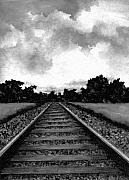Scenic Drawings Prints - Railroad Tracks - Charcoal Print by Michael Vigliotti