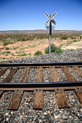 Distance Framed Prints Framed Prints - Railroad Tracks and Crossing Framed Print by Frank Romeo