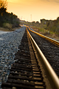 Gravel Road Photos - Railroad Tracks at Sundown by Carolyn Marshall