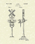 Railroad Drawings - Railroad Traffic Signal 1936 Patent Art by Prior Art Design
