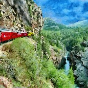 Train Posters - Rails Above the River Poster by Jeff Kolker
