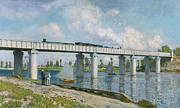 Rail Paintings - Railway Bridge at Argenteuil by Claude Monet