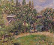 Railway Paintings - Railway Bridge at Chatou by Pierre Auguste Renoir
