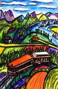 Alps Drawings - Railway Express by Monica Engeler