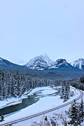 Banff Framed Prints - Railway in Canadian Rockies Framed Print by Jordan  Drapeau