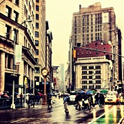 Landscapes Posters - Rain - Flatiron District - New York City Poster by Vivienne Gucwa