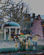 Umbrellas Digital Art - Rain At The Well by David A Brown