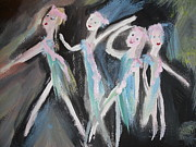 Ballet Dancers Paintings - Rain Ballet by Judith Desrosiers