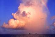 Caribbean Sea Metal Prints - Rain Cloud and Rainbow Metal Print by Thomas R Fletcher