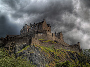 Historic Framed Prints Posters - Rain Clouds Over Edinburgh Castle Poster by Amanda Finan