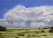 Storm Clouds Paintings - Rain Coming In by Mary Rogers