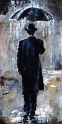 Blue Water Painting Framed Prints - Rain day - Bowler hat Framed Print by Emerico Toth
