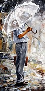 Rain Painting Metal Prints - Rain day - The office man Metal Print by Emerico Imre Toth