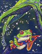 Amphibians Pastels - Rain Drops - Tree Frog by Tracy L Teeter