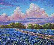Clouds Glass Posters - Rain For The Bluebonnets Poster by David G Paul