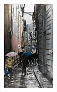 Umbrella Pastels Prints - Rain in Florence Print by Barry Rothstein