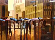 Cities Painting Acrylic Prints - Rain in Manhattan number seventeen Acrylic Print by Tate Hamilton