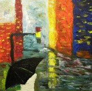 European City Mixed Media - Rain in the city by Carmen Kolcsar