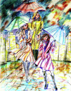 Umbrella Drawings Framed Prints - Rain in the city  Framed Print by Yelena Rubin