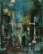 Abstract Canvas Framed Prints - Rain in the Night City Framed Print by David Finley