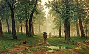 Russia Paintings - Rain In The Oak Forest by Pg Reproductions