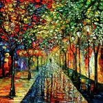 Park Lights Posters - Rain Night Painting - Summer Rain Poster by Beata Sasik