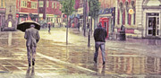 United Kingdom Greeting Cards Posters - Rain on Moor Street Poster by Liam Liberty