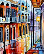 French Quarter Posters - Rain on Royal Street Poster by Diane Millsap