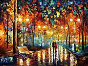 Leonid Afremov Metal Prints - Rain Rustle Metal Print by Leonid Afremov