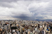 Office Space Metal Prints - Rain Shower Approaching Downtown Sao Paulo Metal Print by Jeremy Woodhouse