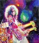 Best Framed Prints - Rain Song - Jimmy Page Framed Print by David Lloyd Glover